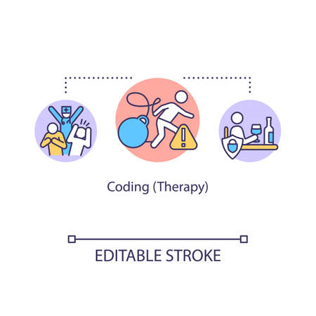Coding therapy concept icon. Addiction treatment idea thin line illustration. Fake procedure. Convincing technique. Vector isolated outline RGB color drawing. Editable stroke