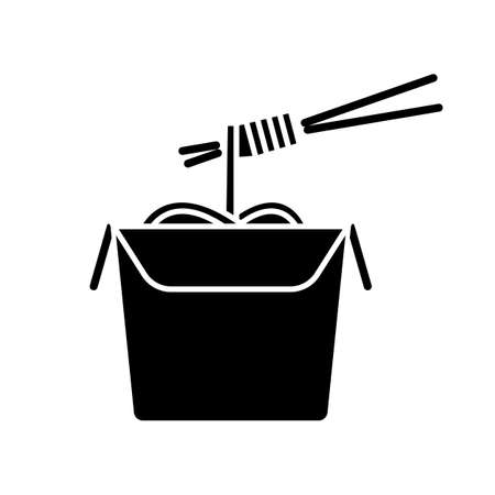 Chinese noodles black glyph icon. Wok cafe food cardboard box with chopsticks. Japanese spaghetti takeout. Take away meal paper package. Silhouette symbol on white space. Vector isolated illustration
