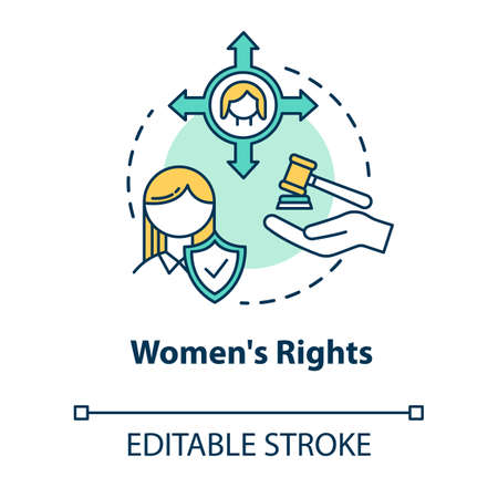 Womens rights concept icon. Gender justice. Sex discrimination. Women empowerment. Feminist movement idea thin line illustration. Vector isolated outline RGB color drawing. Editable stroke