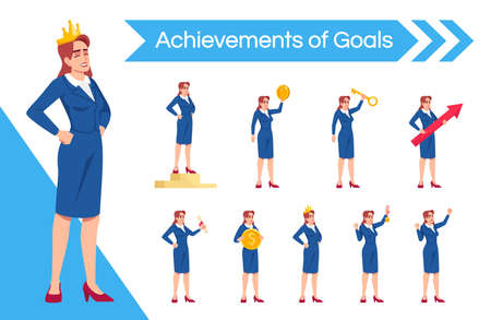 Businesslady leadership flat vector illustrations set. Female top manager enjoying praise and recognition isolated cartoon one character kit. Successful businesswoman triumphant achievements