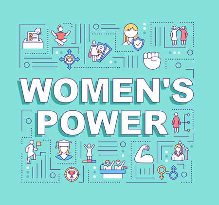 Womens power word concepts banner. Female affirmation. Motivation, empowerment. Infographics with linear icons on turquoise background. Isolated typography. Vector outline RGB color illustration