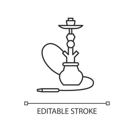 Hookah pixel perfect linear icon. Sheesha house. Nargile lounge. Odor from pipe. Scent of vape. Thin line customizable illustration. Contour symbol. Vector isolated outline drawing. Editable stroke