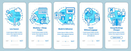 Booking onboarding mobile app page screen with concepts. Economy. Low cost airlines. Cheap tourism walkthrough five steps graphic instructions. UI vector template with RGB color illustrations Illustration