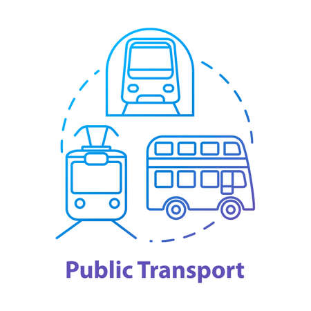 Public transport concept icon. Affordable travel means, budget tourism idea thin line illustration. Urban transportation. Subway train, bus and tram vector isolated outline RGB color drawing