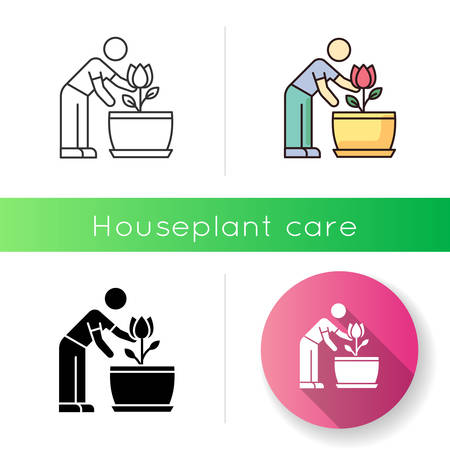 Flowering houseplant icon. Growing blooming plant. Indoor gardening. Taking care of flower. Planting process. Thriving domestic plant. Linear black and RGB color styles. Isolated vector illustrations