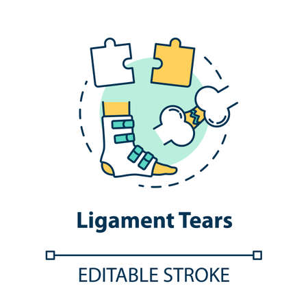 Ligament tears concept icon. Muscle injury, tendon rupture. First aid, trauma treatment scheme idea thin line illustration. Vector isolated outline RGB color drawing. Editable stroke