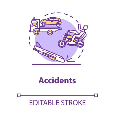 Traffic accidents concept icon. Injury causes and plane crash, dangerous collisions, traumatism factor idea thin line illustration. Vector isolated outline RGB color drawing. Editable stroke Ilustracja