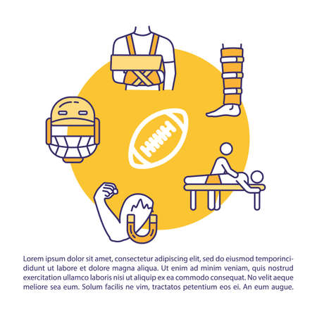 Sports injury first aid concept icon with text. Baseball trauma therapy and treatment PPT page vector template. Brochure, magazine, booklet design element with linear illustrations