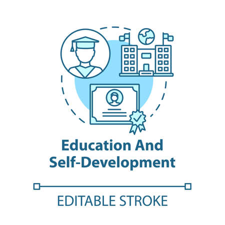 Education and self-development concept icon. Gain knowledge. Improvement opportunity. Academic studies idea thin line illustration. Vector isolated outline RGB color drawing. Editable stroke Ilustrace