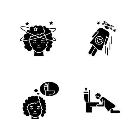 Early pregnancy symptom black glyph icons set on white space. Lady with dizziness. Frequent urination urge. Vomiting from nausea. Food poisoning. Silhouette symbols. Vector isolated illustration