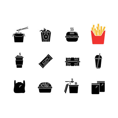 Takeaway food packages black glyph icons set on white space. Take out meal containers, boxes for delivery. Noodles, bucket of wings, french fries. Silhouette symbols. Vector isolated illustration