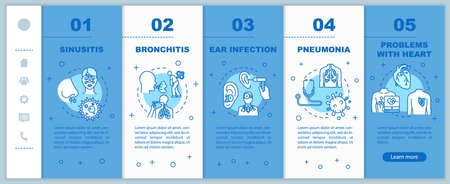 Influenza virus onboarding vector template. Otitis diagnosis. Vitamin intake. Chest pain. Lung problem. Responsive mobile website with icons. Webpage walkthrough step screens. RGB color concept