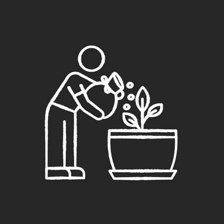 Fertilizing seedling chalk white icon on black background. Feeding sapling. Plant growing, planting process. Indoor gardening. Growth supplements, amendments. Isolated vector chalkboard illustration