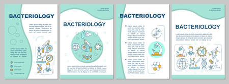 Bacteriology brochure template. Lab research, microbiology Flyer, booklet, leaflet print, cover design with linear icons. Vector layouts for magazines, annual reports, advertising posters