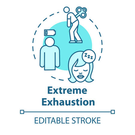 Extreme exhaustion concept icon. Sleep need. Overwork and burnout. Chronic weakness. Fatigue idea thin line illustration. Vector isolated outline RGB color drawing. Editable stroke