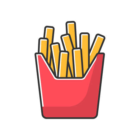 French fries red RGB color icon. Fried potato, salty sticks in cardboard box. Takeaway fastfood package. Takeout meal in paper pack. Isolated vector illustration Illustration