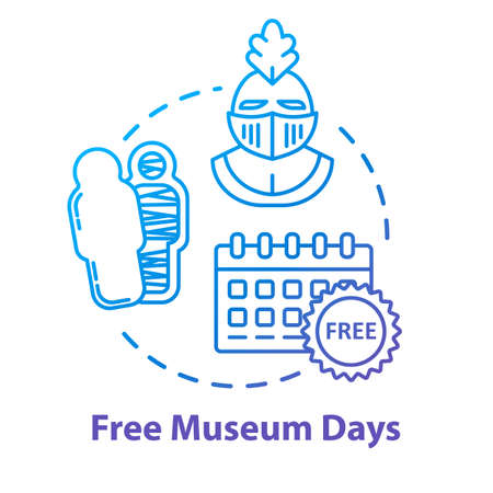 Free museum days concept icon. Admission discounts, inexpensive guided tours idea thin line illustration. Budget travel pastime, affordable vacation. Vector isolated outline RGB color drawing Ilustração