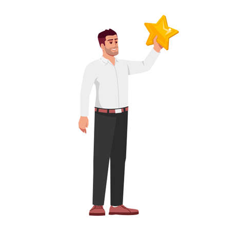 Ambitious employee semi flat RGB color vector illustration. Happy worker achieving goals isolated cartoon character on white background. Reaching stars concept, personal success metaphor