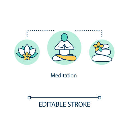 Meditation concept icon. Mindfulness idea thin line illustration. Inner calm practice. Stress reduction. Alternative, complementary medicine. Vector isolated outline RGB color drawing. Editable stroke Ilustrace