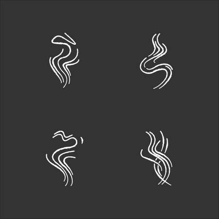 Odor chalk white icons set on black background. Good smell. Fluid, nice perfume scent. Aromatic fragrance flowing curves. Smoke puff, hot steam curls. Isolated vector chalkboard illustrations