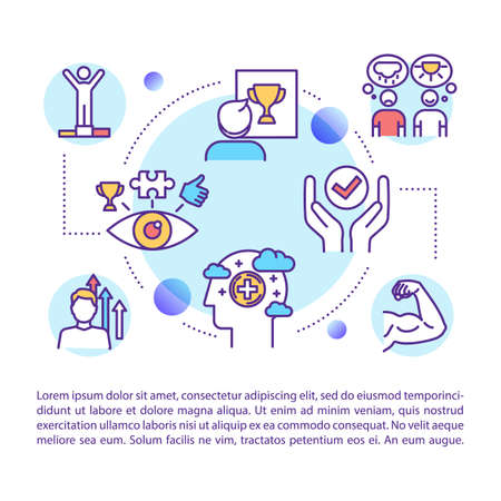 Visualization concept icon with text. Mindset. Guided imagery. Optimistic outlook. Mental development. PPT page vector template. Brochure, magazine, booklet design element with linear illustrations