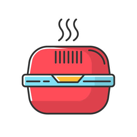Burger box red RGB color icon. Fast food takeout container. Takeaway thermo packaging. Plastic lunchbox for hot meal, hamburger. Isolated vector illustration