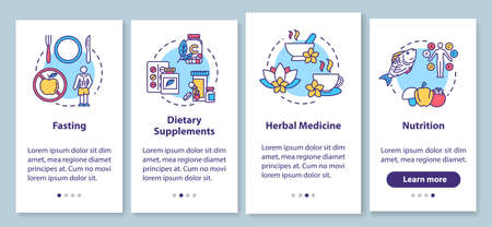 Diets and herbs onboarding mobile app page screen with concepts. Healthy nutrition and dietary supplements walkthrough four steps graphic instructions. UI vector template with RGB color illustrations Illustration
