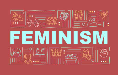Womens power word concepts banner. Female affirmation. Motivation, empowerment. Infographics with linear icons on red background. Isolated typography. Vector outline RGB color illustration