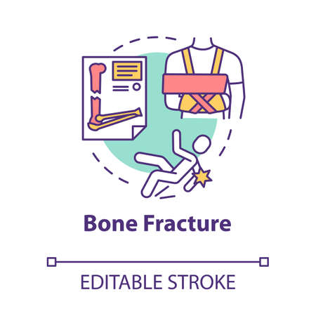 Bone fracture, cartilage injury, trauma concept icon. Orthopedics, traumatism, falling and arm fracture idea thin line illustration. Vector isolated outline RGB color drawing. Editable stroke