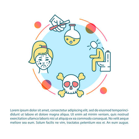 Poisoning symptoms concept icon with text. Intoxication, chemical substance effect, human organism harm PPT page vector template. Brochure, magazine, booklet design element with linear illustrations