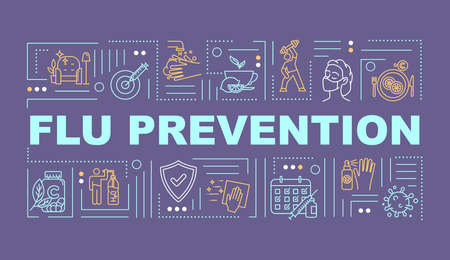 Flu prevention word concepts banner. Health protection. Vaccination shot. Infographics with linear icons on purple background. Isolated typography. Vector outline RGB color illustration Illustration