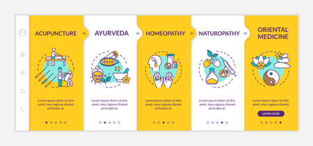 Traditional alternative medicine onboarding vector template. Complementary therapies, healing methods responsive mobile website with icons. Webpage walkthrough step screens. RGB color concept