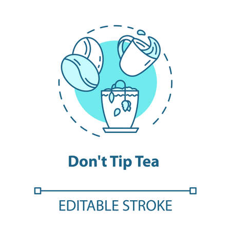 Dont tip tea concept icon. Indoor gardening. Herbs cultivation. Dont overturn coffee to pot idea thin line illustration. Vector isolated outline RGB color drawing. Editable stroke