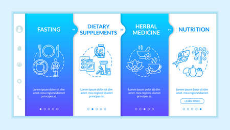 Herbal medicine and diets onboarding vector template. Homeopathy, naturopathy responsive mobile website with icons. Fasting and dietary supplements webpage walkthrough step screens. RGB color concept