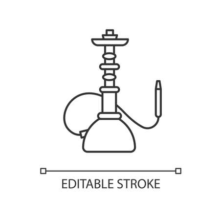 Hookah pixel perfect linear icon. Sheesha house. Shisha bar for leisure. Nargile lounge. Thin line customizable illustration. Contour symbol. Vector isolated outline drawing. Editable stroke Illustration