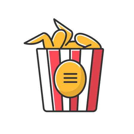 Paper bucket of chicken wings RGB color icon. Fast food menu dish. Crispy fried meat in cardboard package, box. Takeaway tasty restaurant meal. Isolated vector illustration