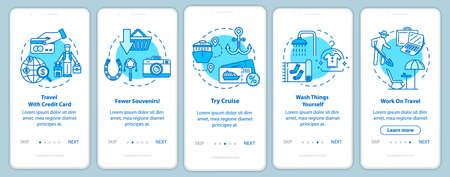 Tips onboarding mobile app page screen with concepts. Remote work. Postcard for souvenirs. Budget tourism walkthrough five steps graphic instructions. UI vector template with RGB color illustrations