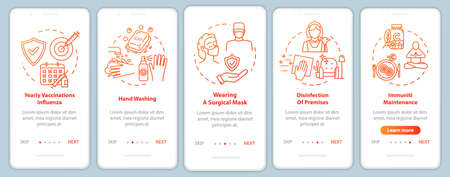 Immunization onboarding mobile app page screen with concepts. Vitamin intake. Immunity protection walkthrough 5 steps graphic instructions. UI vector template with RGB color illustrations Vektoros illusztráció