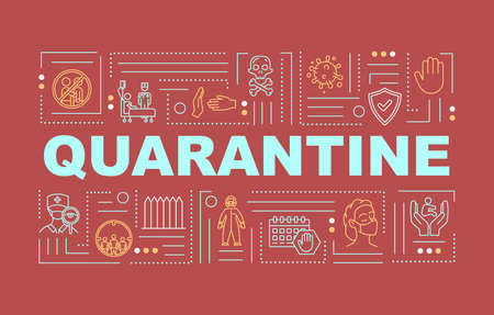 Quarantine word concepts banner. Influenza virus outbreak. Epidemic in human population. Infographics with linear icons on red background. Isolated typography. Vector outline RGB color illustration