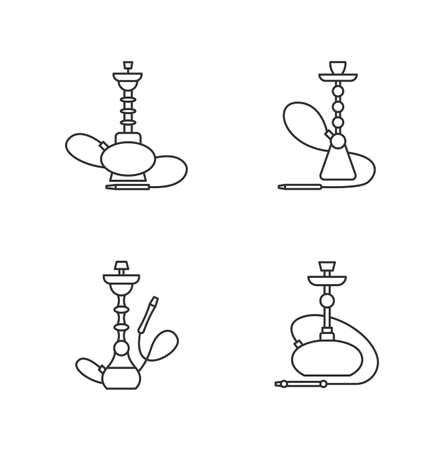 Hookah pixel perfect linear icons set. Amusement with friends. Sheesha house. Nargile lounge. Customizable thin line contour symbols. Isolated vector outline illustrations. Editable stroke