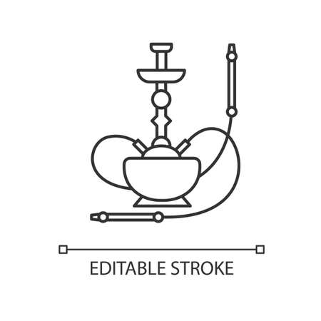 Hookah pixel perfect linear icon. Sheesha house. Hooka accessories shop. Nargile lounge. Thin line customizable illustration. Contour symbol. Vector isolated outline drawing. Editable stroke