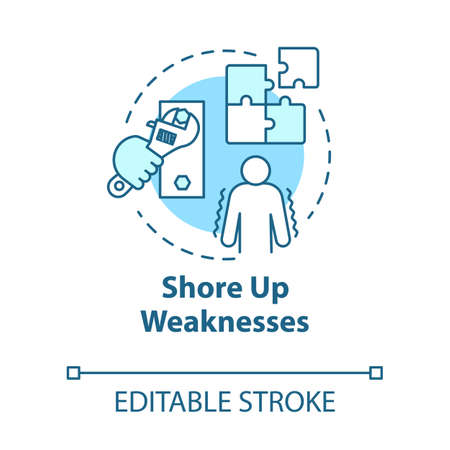 Shore up weaknesses concept icon. Personal goal. Development and improvement. SWOT strategy. Self-building idea thin line illustration. Vector isolated outline RGB color drawing. Editable stroke