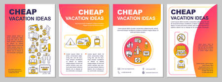 Cheap tourism ideas brochure template. Using credit card. Public transport. Flyer, booklet, leaflet print, cover design, linear icons. Vector layouts for magazines, annual reports, advertising posters