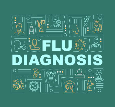Flu diagnosis word concepts banner. Lung problem treatment. Respiratory illness. Infographics with linear icons on green background. Isolated typography. Vector outline RGB color illustration Illustration