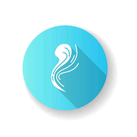 Bad smell blue flat design long shadow glyph icon. Stink cloud. Toxic emission, scent. Gas, stench. Hot air odor. Smoke stream, fume swirls, evaporation malodor. Silhouette RGB color illustration