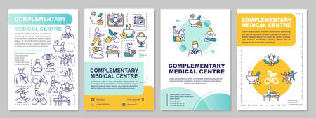 Complementary medical centre brochure template. Alternative medicine flyer, booklet, leaflet print, cover design with linear icons. Vector layouts for magazines, annual reports, advertising posters