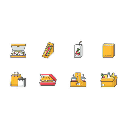 Takeaway food RGB color icons set. Carry out packages for meal. Fast food delivery. Packed pizza, sandwich, hamburger. Takeout lunch. Isolated vector illustrations Illustration