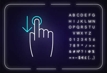 Down scrolling finger neon light icon. Scrolldown gesture for smartphone touch screen. Outer glowing effect. Sign with alphabet, numbers and symbols. Vector isolated RGB color illustration Ilustração