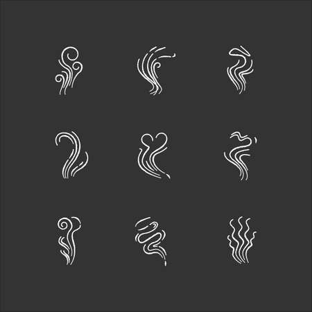 Odor chalk white icons set on black background. Good and bad smell. Heart shape nice odour, fluid, perfume scent. Aromatic fragrance. Smog stream. Isolated vector chalkboard illustrations