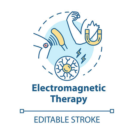 Electromagnetic therapy concept icon. Alternative medicine idea thin line illustration. Pseudoscientific magnet and radio waves treatment. Vector isolated outline RGB color drawing. Editable stroke